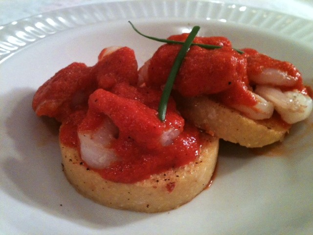 Garlic Shrimp with Roasted Red Pepper Sauce over Polenta
